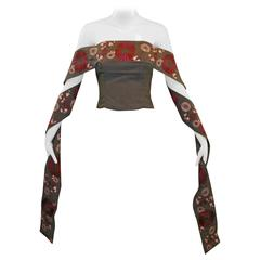"Alexander McQueen S/S 2001 ""Voss"" Japanese Embroidered Bustier Crop Top 38"