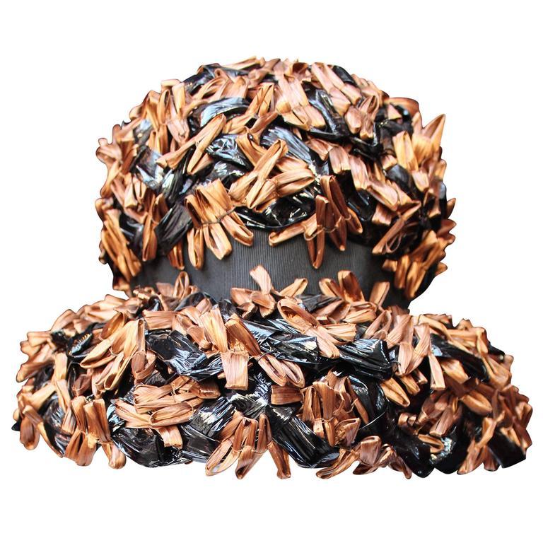 1950 Schiaparelli Brown and Black Raffia Hat
