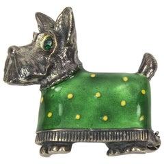 Enamel Scottie Dog Terrier Sterling Silver Brooch Pin