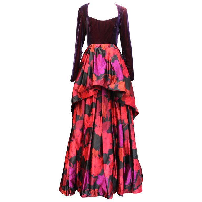 1980s Lapidus Haute Couture Plum Velvet and Taffeta Evening Gown