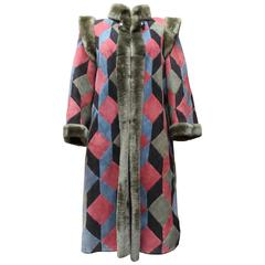 1975s Christian Dior Multicolored Patchwork Shearling Coat