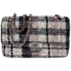 2000s Chanel Timeless Double Flap Tweed Shoulder Handbag