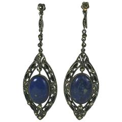 Art Deco Marcasite, Sodalite and Onyx Drop Earrings