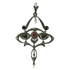 Edwardian Marcasite and Garnet Pendant