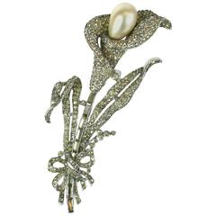 Trifari Calla Lilly Fur Clip Brooch