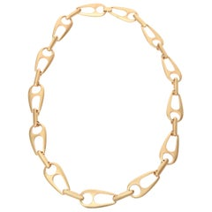 Sculptural Gold Plated Large Link Necklace Attributed to Alexis Kirk
