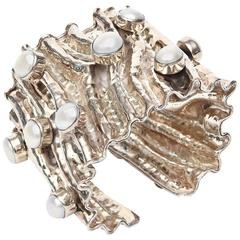 Hand Wrought Monumental & Sculptural Sterling Silver & Pearl Cuff Bracelet