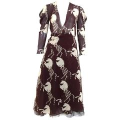 2001 CHLOE horse print silk wrap dress