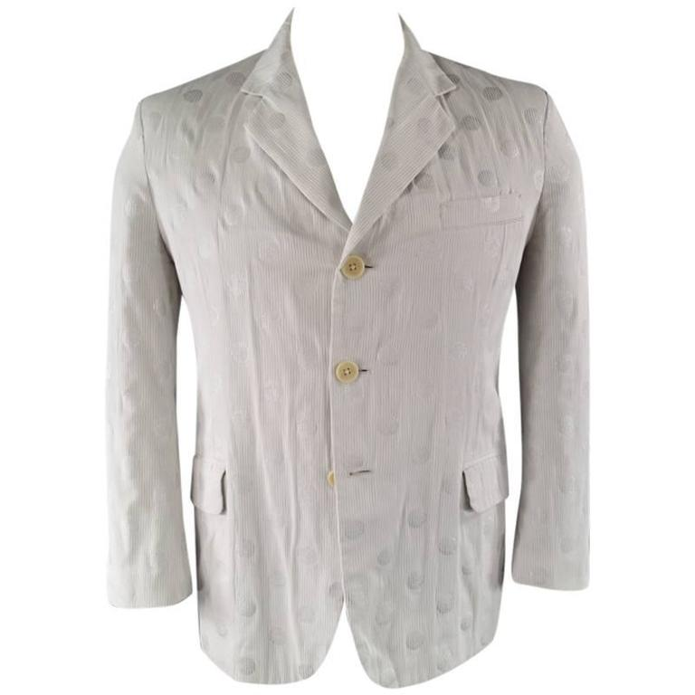 YOHJI YAMAMOTO Men's 40 Regular White & Silver Polka Dot Cotton Sport Coat
