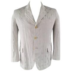 YOHJI YAMAMOTO Men's 40 Regular White & Silver Polka Dot Cotton Sport Coat