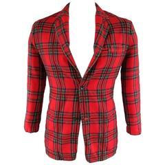 Y's by YOHJI YAMAMOTO Men's 40 Red Wool Plaid Pattern Sport Coat