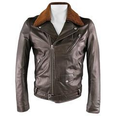 A.P.C. 42 Brown Soft Leather Detachable Faux Shearling Collar Biker Jacket