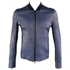 GUCCI 42 Navy Ribbed Leather Stretch Panel Biomber Jacket