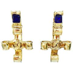 Chanel Gilt Crucifix Pendant Ear Drops ca.1990