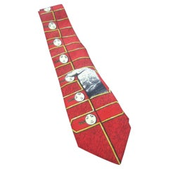 Fornasetti Mod Avant-garde Italian Graphic Design Silk Necktie c 1990s