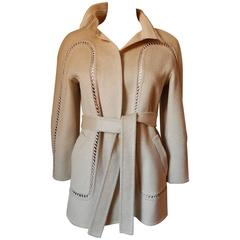 Chado Ralph Rucci 100% Cashmere Jacket with Knotted Ribbon Inserts Size 6