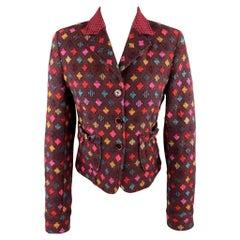 ETRO Size 6 PLum Multi-Color Print Wool Blend Knit Cropped Blazer Jacket