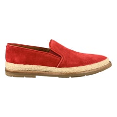 AQUATALIA Size 11 Red Suede Braided Trim Rubber Sole Loafers
