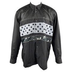 COMME des GARCONS SHIRT M Black & Grey Polka Dot Floral Stripe Patchwork Shirt