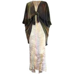 1980's PATRICIA LESTER 2pc. Fortuny-pleated Delphos gown & velvet wrap