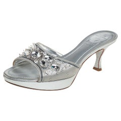 René Caovilla Metallic Silver Satin Crystal Embellished Slide Sandals Size 38