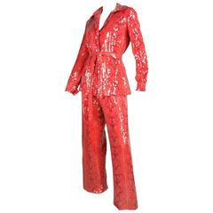 1970's Bill Blass Snakeskin Printed Sequined Ensemble