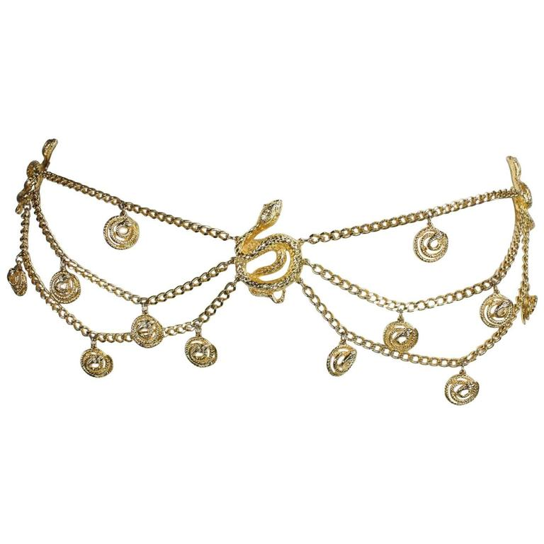 Gold-Toned Vintage Snake Chain Belt