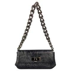 MICHELE Black Textured Leather Gun Metal Chain Handbag
