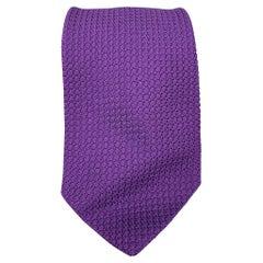 DRAKES LONDON Purple Woven Silk Neck Tie