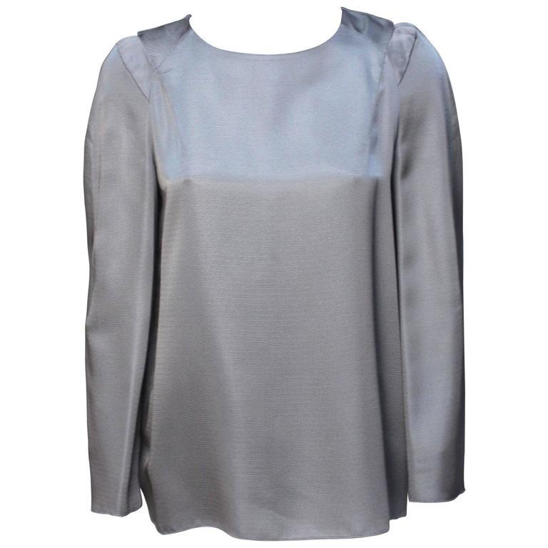 Marni Gunmetal Grey Silky Viscose Top For Sale