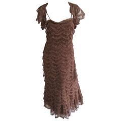 1930s Rosali Macrini For Barbra Costume Company Tiered Lace Cocktail Dress