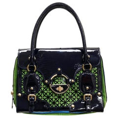 New VERSACE PERFORATED PATENT LEATHER BAG