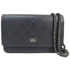 Chanel 2.55 Gunmetal Gray Calfskin Silver Chain Wallet on Chain WOC Shoulder Bag