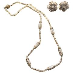Haskell Pearl Floral Earring and Necklace Set
