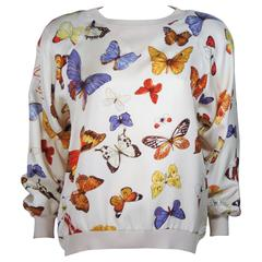 HERMES Cream Silk Butterfly Print Pull-Over Sweater Size 44