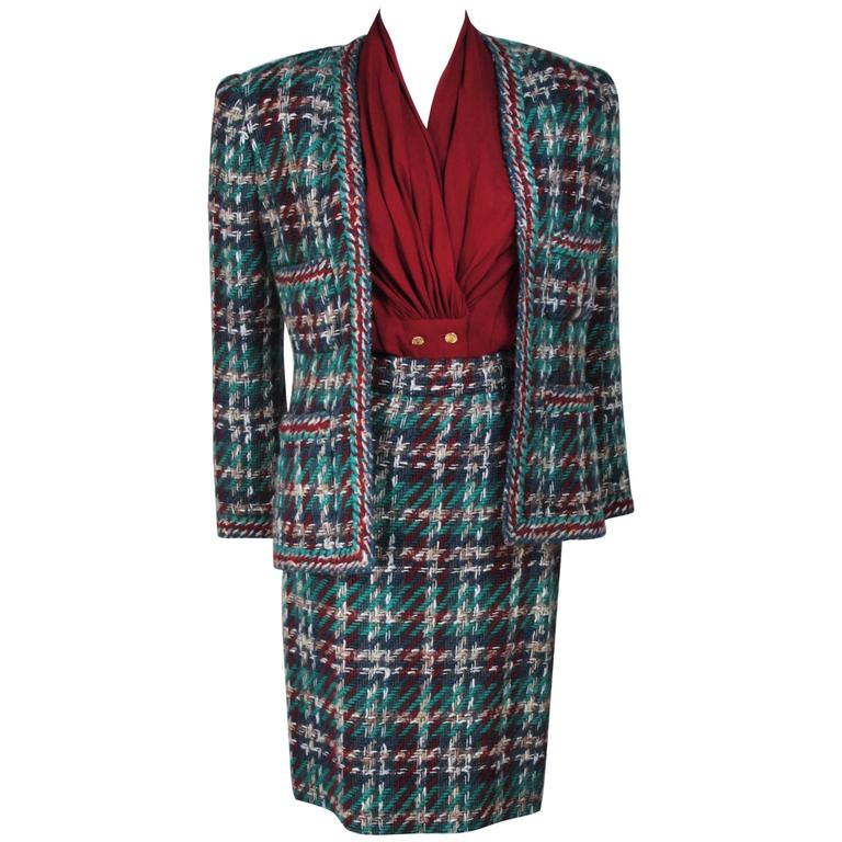 CHANEL COUTURE Wool Boucle and Silk Skirt Suit Ensemble 3 ...