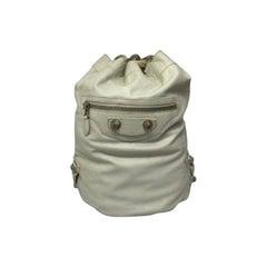 Balenciaga White  Leather Bucket Bag