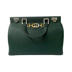 Gucci Green Leather Zumi Shoulder Bag