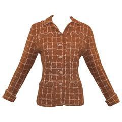 1930's Pola Stout Haute Couture Textile Weave Ribbon Knit Jacket