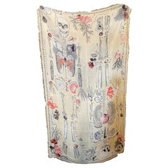An Iconic White Silk Scarf with double Skull by Alexander McQueen