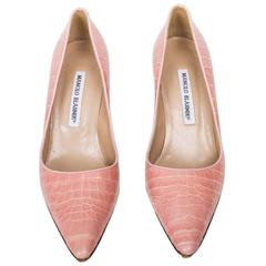 Manolo Blahnik Pale Pink Crocodile Pumps