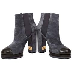 Chanel Gray Suede Platform Booties