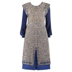 CLASSY JEAN c.1910's Edwardian Satouche Shell Silk Bishop Sleeve Midi Dress
