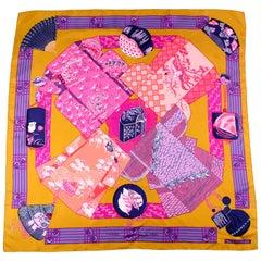 1986 Vintage Hermes Annie Faivre Kimonos Et Inros Gold, Purple & Pink Silk Scarf