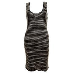 Temperley Silver Metal Bead Fitted Body Con Dress