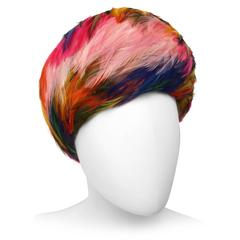 1960's Christian Dior Rainbow Feather Hat