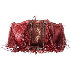 Chanel Quilted Large Dallas Collection Drawstring Fringe Snakeskin Bag