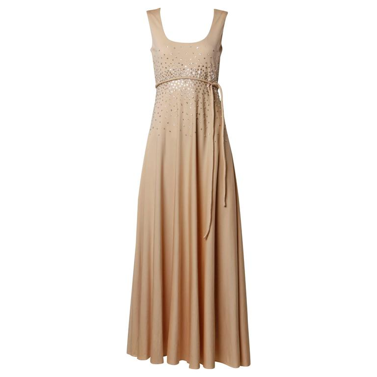 1970s Vintage Metallic Silver Sequin Nude Jersey Knit Empire Maxi Dress For Sale