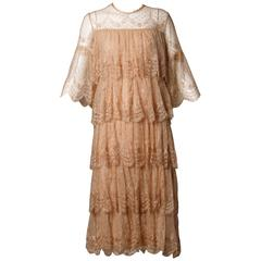 Vintage French Tiered Nude Scalloped Lace Dress with Bell Sleeves + Rhinestones