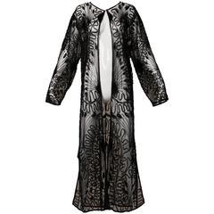 Vintage Long Sheer Black Mesh Sequin + Beaded Duster Coat
